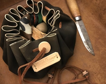 Tinder / Survival Kit / Fire Starting Kit leather pouch Dark Brown