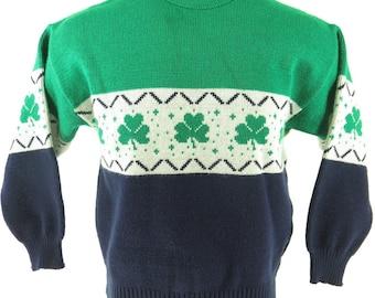 Vintage 80s Irish Sweater Mens L Ireland Emerald Isle Clover Green [H47C_1-6_Shelf]