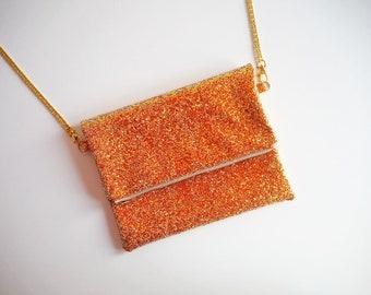 Burnt Orange Fold Over Clutch Bag, Glitter Fold Over Clutch Bag, YKK Zip, Orange Glitter Party Bag, Burnt Orange Evening Bag,
