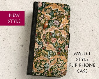 iPhone Case (all models) - William Morris  - Owl tapestry - wallet style flip case -  Samsung Galaxy S4,S5,S6,S7Edge,S8,S8Plus & more