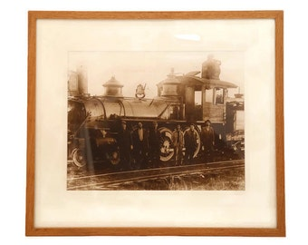Large Framed Railroad Engine Photo, Antique Steam Locomotive Picture, Large Framed Matted Railroad Steam Engine, Old Framed Train Photograph