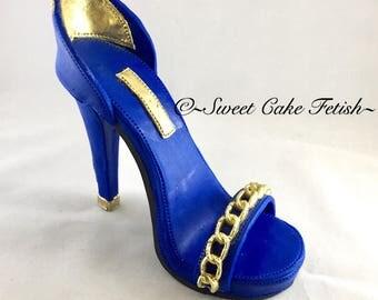 Gumpaste High Heel Shoe/ Cake Topper/Royal Blue and gold shoe topper//Fashion cake topper