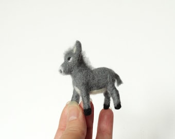 Needle Felted animal Felt toy Felted donkey, Felted miniature, Felt figure, Animal farm ,baby donkey, Christmas tree ornament Made To Order
