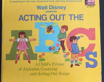 "1968 Walt Disney Presents Acting Out the ABC's Book and 12"" Record Set- Child's Primer of Alphabet, Counting and Acting Out Songs"