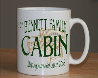 Set of 4 Personalized Coffee Mugs - Lake House - Cabin - Cottage