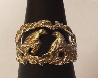 Sterling Silver Ring with Doves