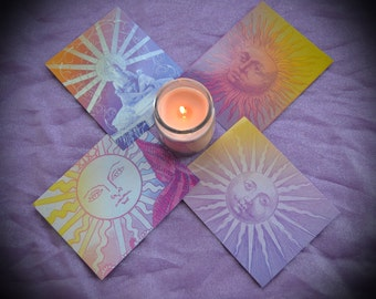 Vintage Sun Postcards / Set of 4 Solar God Note Cards / Classical Gypsy Art Prints / Psychedelic Astrology Art Prints / Fortune Tarot Card