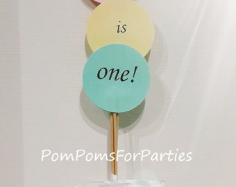 NEW! Party Topper - Olivia is one! - Birthday decoration - Cake topper - 1st Party decoration - top - customized words - many colors