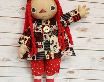 Rag doll, cloth doll, art doll, mouse doll, handmade doll, ooak doll, mohair, wool hair, collectible doll, torvs treasures, primitive doll