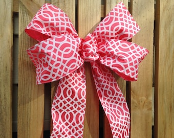 Coral wired ribbon bow geometric design wreath decor Chair Pew wedding gift bows garland spring decoration