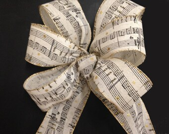 Music notes gift bow, wreath bow package decoration, staircase, mantel,  pew bows, buffet table decor musical wedding notation
