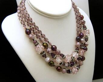 Fabulous Triple Strand Bead Rhinestone Necklace Shades of Purple