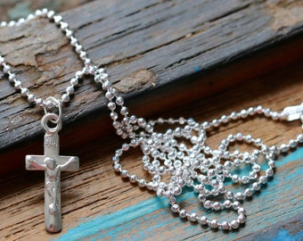 "Italian Sterling Silver Crucifix Necklace, 30-24-18"" 1.5mm Ball Chain or 16"" Flat Cable Chain"