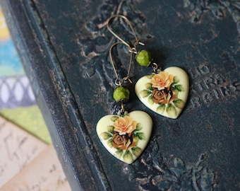 Vintage Style Rose Heart Earrings with Green Czech Glass>> sweet earrings romantic jewelry gift for her Spring fashion pastels florals boho