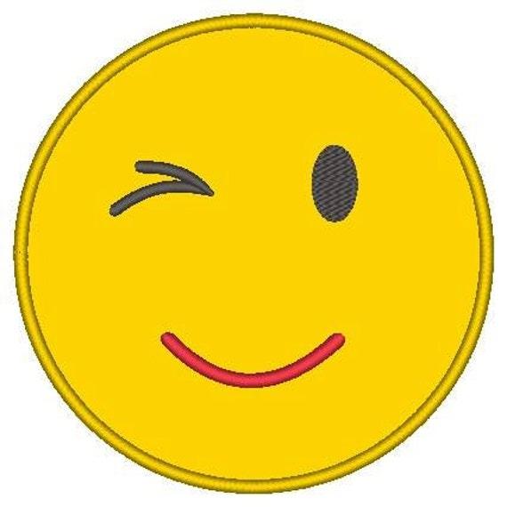 SAMPLE SALE, Winking Emoji Embroidered Shirt - Emoji Birthday - Emoji Birthday Shirt - Emoji Party - Emoji Movie