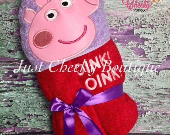 Pink Pig Inspired Hooded Towel - Peppa - Oink Oink - Brother George - Mummy Pig - Daddy Pig - Peppa Pig Birthday