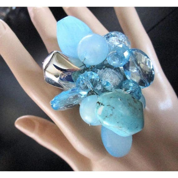 Gigantic Bling Ring of Turquois Nugget and faux Crystals Massive Ring