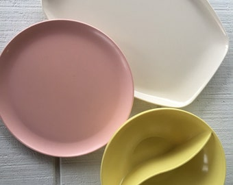Vintage Pastel 1950's Melmac Mar-Crest Serving Pieces , mid century melmac melamine, camping picnic travel trailer Dishes atomic dishes