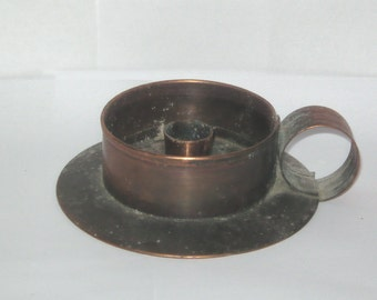 Burkart USA Solid Copper Candle Holder with Handle Taper