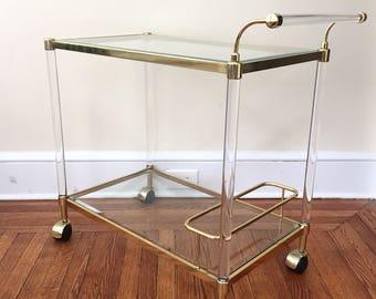 Vintage Modern Brass and Lucite Bar Cart