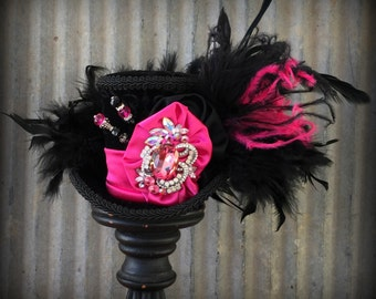Black and Hot Pink Fucshia Mini Top Hat, Mini Mad Hatter Hat, Tea Party Hat, Alice in Wonderland Top hat, Black Top hat, Top hat Fascinator