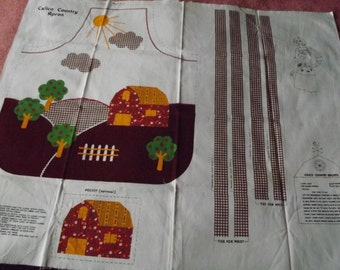 Vtg Cotton Fabric PANEL~Calico Country APRON~Cut+Sew~barn farm trees~Sturdy fabric