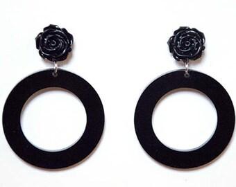 Retro Gothic Black Rose Hoop Earrings Dangle Stud Earrings Hoops