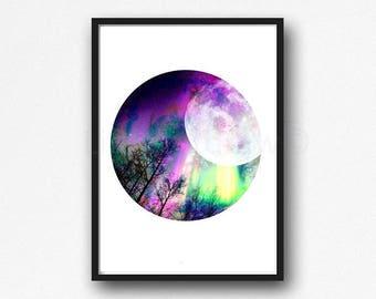 Aurora Borealis Print Moon Landscape Abstract Circle Minimalist Wall Art Bedroom Wall Decor Art Print Unframed
