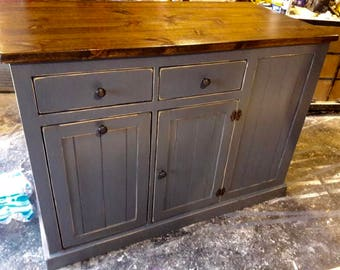 Beautiful Handmade Farmhouse Kitchen Island...with roll trash can