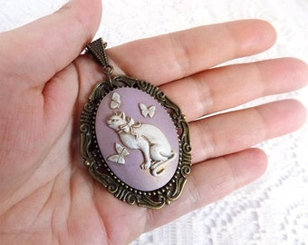hand made cameo cat necklace