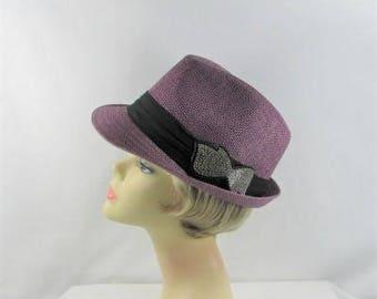 Brilliant Bow Fedora Purple Straw Hat (CC5106)