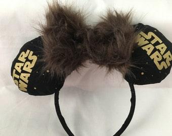 Star Wars Minnie Ears w/Chewy Bow