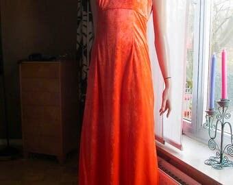 Vintage  crushed -velvet dress.Vintage orange velvet dress.