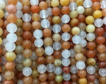 6mm natural aventurine beads, orange white aventurine beads, gemstone beads, round polished beads for jewelry making