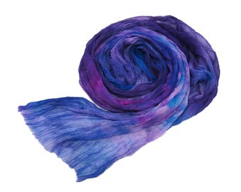 Hand dyed Silk crinkle chiffon fabric scarf for nuno felting color: Purple/Royal/Violet