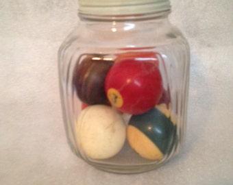 Vintage Billiard Balls 7 Billiard Balls Displayed inside a Kitchen Canister Jar