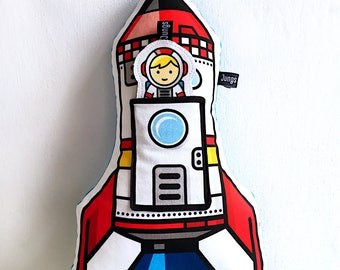 rocket pillow, soft stuffed, with pocket and little astronaut