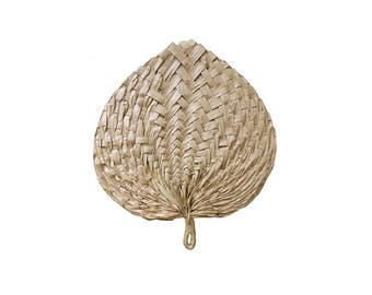 Vintage Natural Straw Rattan Palm Leaf Hand Fan