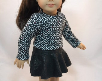 "18 inch doll clothes ""The Angelica"" Eco-Friendly Cropped Sweater, Suede Skater Skirt, Boots, for The ""American Girl"" Doll"
