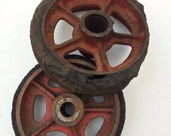 Cast Iron Industrial Cart Wheels Fairbanks Co Rusty Vintage Salvage Steampunk