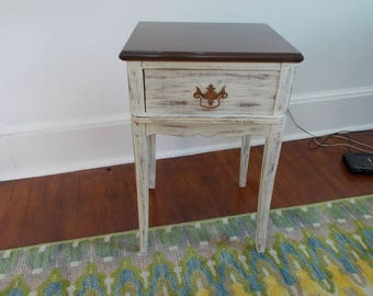 Vintage- Bedside Table with Drawer and Heavily Distressed at Ancient of Daze