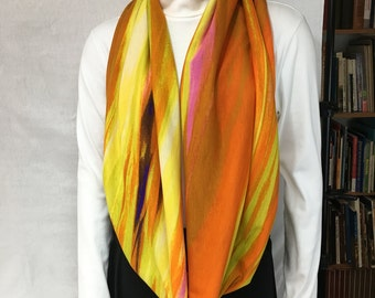 Orange and Yellow Cotton Infinity Scarf, Loop Scarf, Circle Scarf