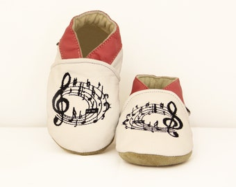 Music Notes Handmade soft sole genuine Goat leather baby & kids shoes