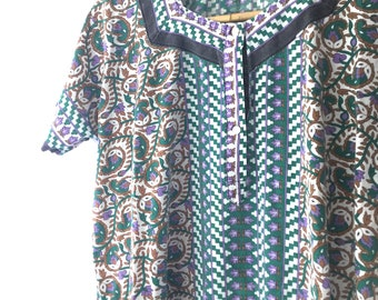 vintage 70s dress, boho dress, caftan hippie dress, block print dress, india embroidery, 70s boho dress, 1970s 70s clothing, beach coverup