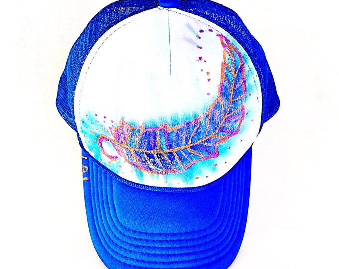 Royal Blue and Purple, Bronze Metallic Sparkle Boho Feather Hand Painted Trucker Hat, Free Spirit Festival Bohemian Trucker Hat