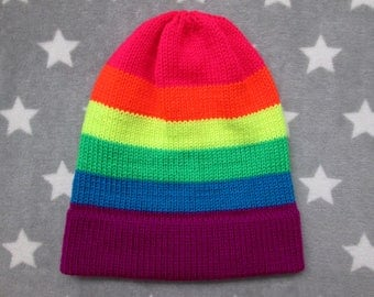 Knit Pride Hat - Neon LGBT Rainbow - Slouchy Beanie