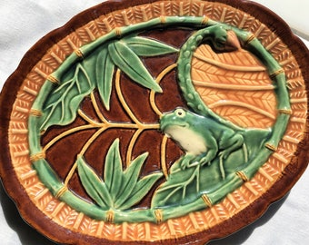 Vintage Decorative Plate|Frog Plate|Majolica Plate|Ceramic Majolica Frog Plate|Decorative Plate|Frog Collection