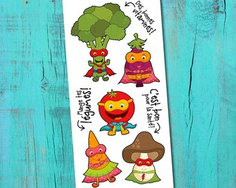 Temporary Tattoos - Super Vegetables