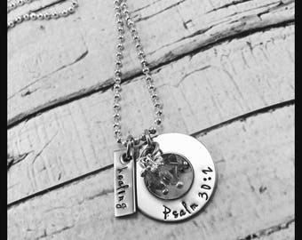 Healing Bible verse handstamped personalized necklace