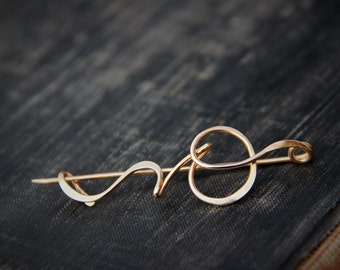 Modern, abstract calligraphy brushstroke shawl pin #3, scarf pin, sweater pin, brooch, bronze, gold, silver, minimalist, elegant, simple
